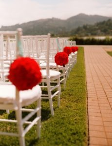 Shannon Berry wedding consulting Nishka and Carl ceremony seating with flowers Acqua Hotel Mill Valley Wedding